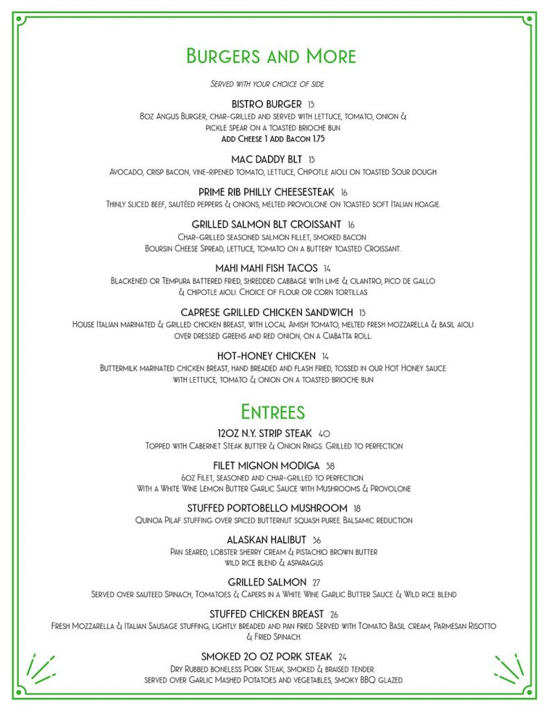 Burgers and Dinner Entrees from The Bistro at Old Hickory Golf Club
