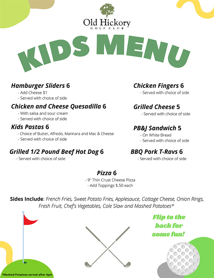 Children's Menu from The Bistro at Old Hickory Golf Club