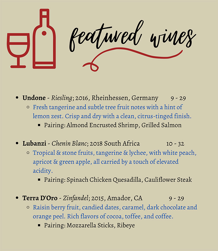 Featured Wine Menu from Old Hickory Golf Club's Bistro