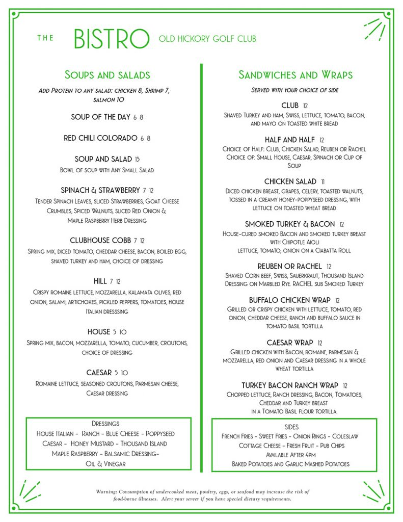 Menu from The Bistro at Old Hickory